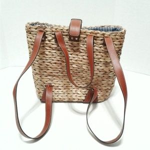 Handbags - Natural straw backpack/tote with leather handles